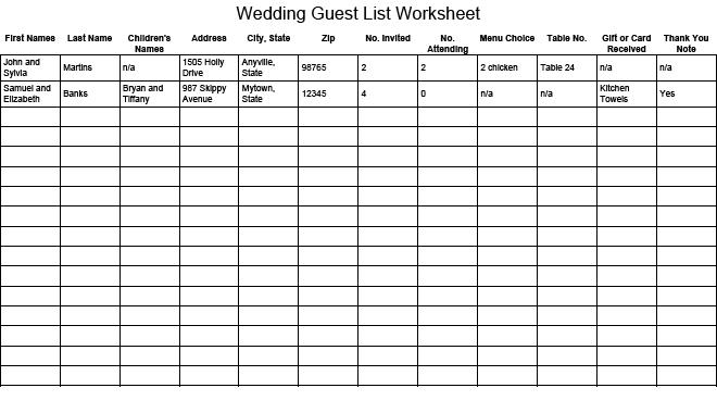 Invite List Template. Vendor List For Events Images - Google