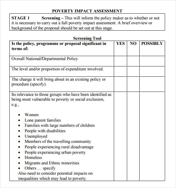 44 free impact assessment templates in word excel pdf formats for Change impact assessment template