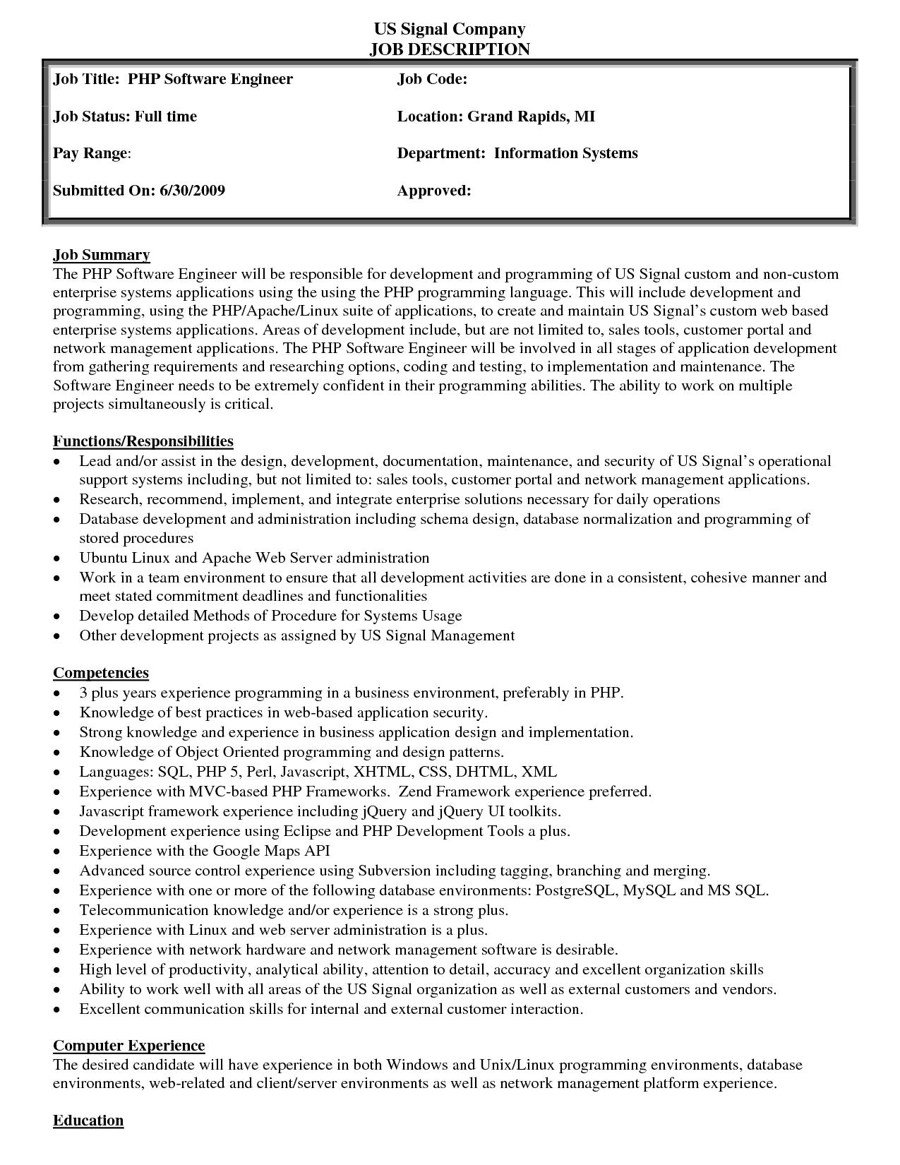 19 Free Job Description Templates In Word Excel