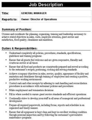 Free Job Description Templates In Word Excel Pdf