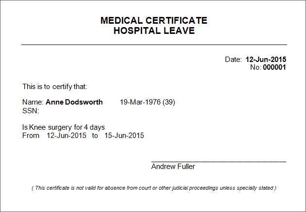medical certificate sample
