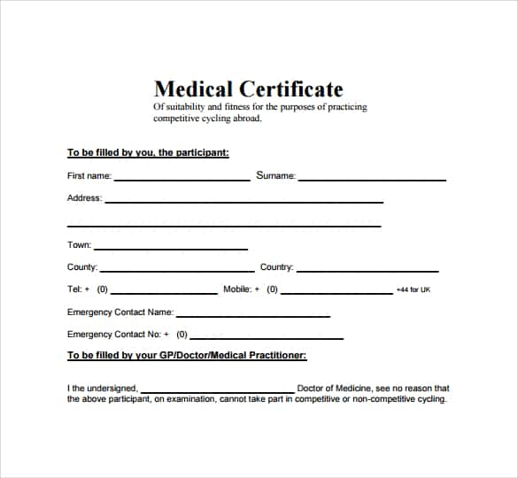 Free Medical Certificate Template  Word Excel Formats