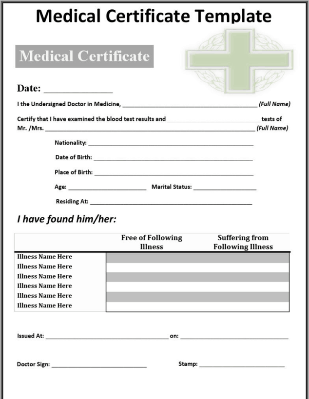 21 free medical certificate template word excel formats medical certificaet template 59741 yelopaper Gallery