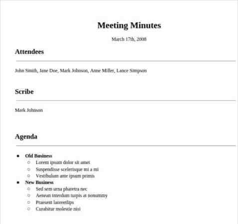 meeting minutes sample 15.41