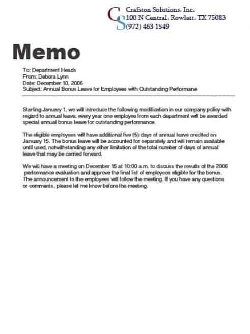memo sample 193941
