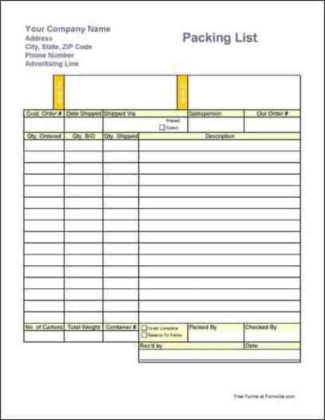 packing list sample 16.41