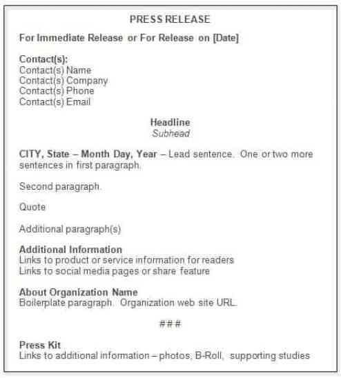 press release sample 12.461
