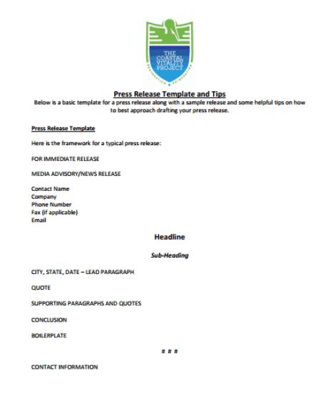 press release template 5941