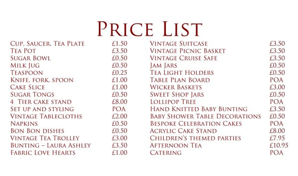 Price List Sample