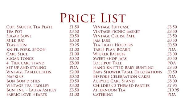 Price List Sample