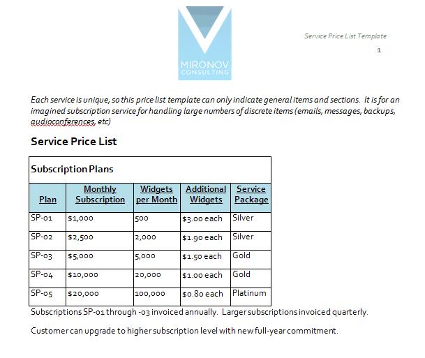 free price sheet template
