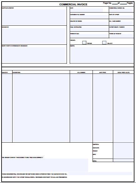 Commercial Invoice Template 1461  Commercial Invoice Template Word