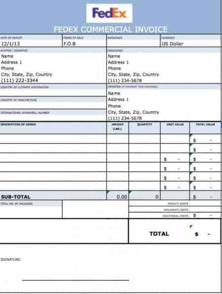 Commercial Invoice sample 13.61