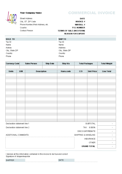 Commercial Invoice sample 261