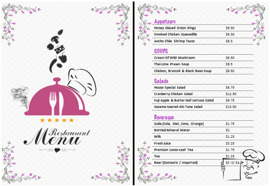 21 free free restaurant menu templates word excel formats for Drink menu template microsoft word