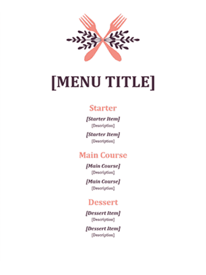 Free Restaurant Menu sample 18.61