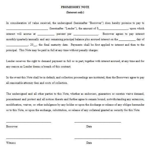 Promissory Note Template 241