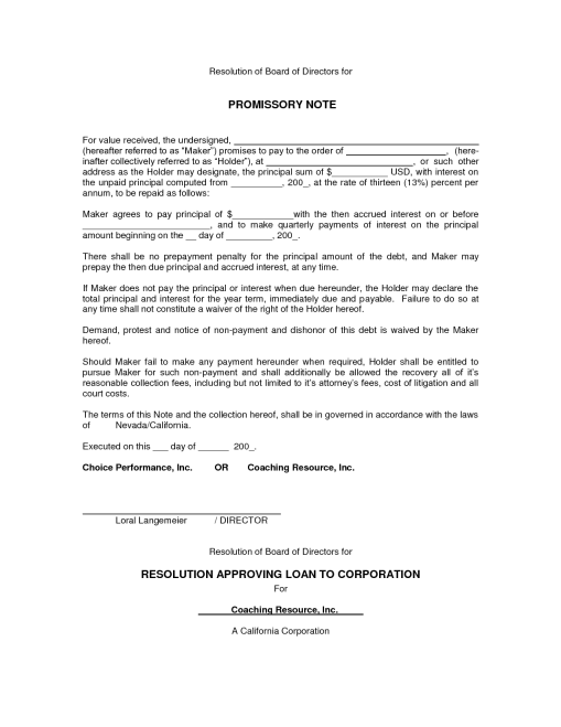 Promissory Note sample 74