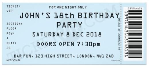 Ticket Invitation sample 441