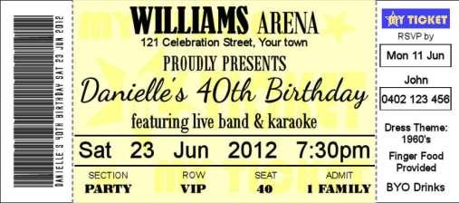 Ticket Invitation sample 741