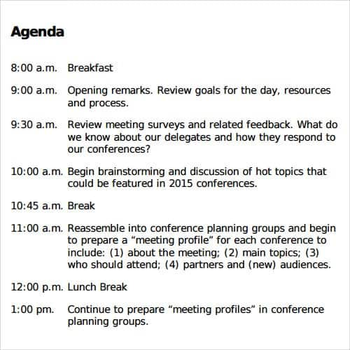 agenda sample 15.461