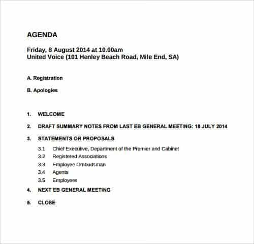 Agenda Layout Template MeetingAgendaTemplate  Effective