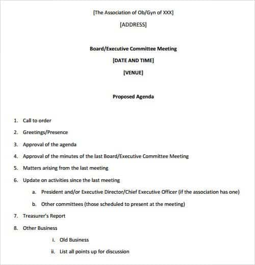 agenda outlines templates