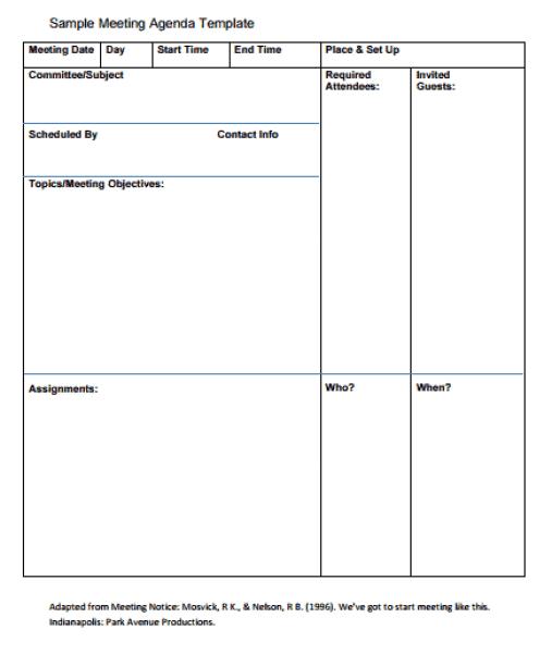 agenda template 4941