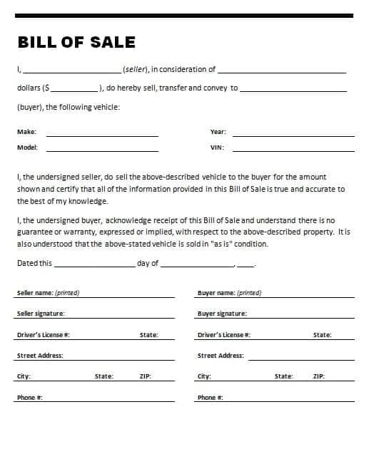 21+ Free Bill of Sale Template - Word Excel Formats