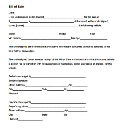 bill of sale template 2641