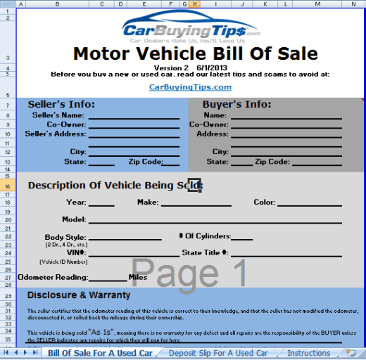bill of sale template 5941