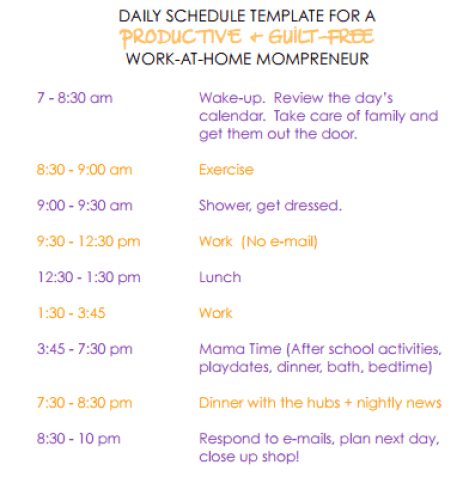 daily schedule template 5461