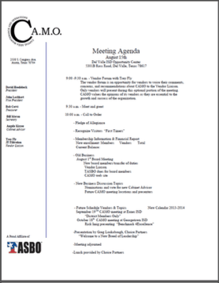 meeting agenda sample 13.941