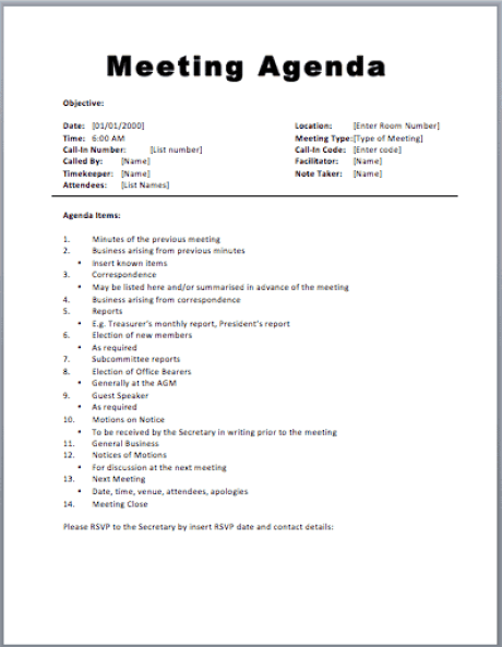 meeting agenda sample 594