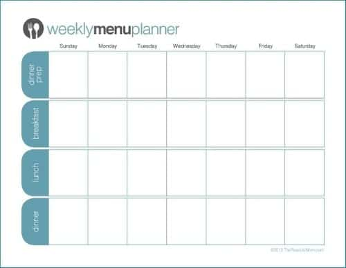 menu planner sample 2461