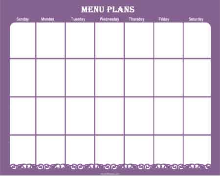 menu planner sample 9941