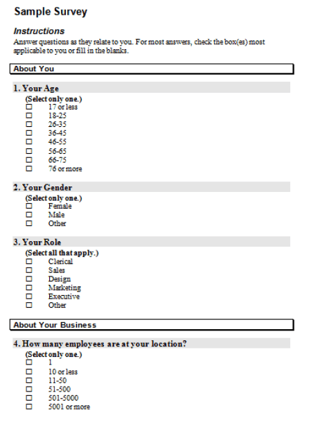 sample survey template 261