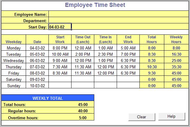 employee time sheet form