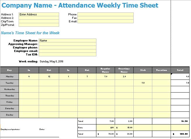 timesheet spreadsheet template