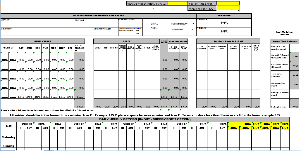 free time sheets template