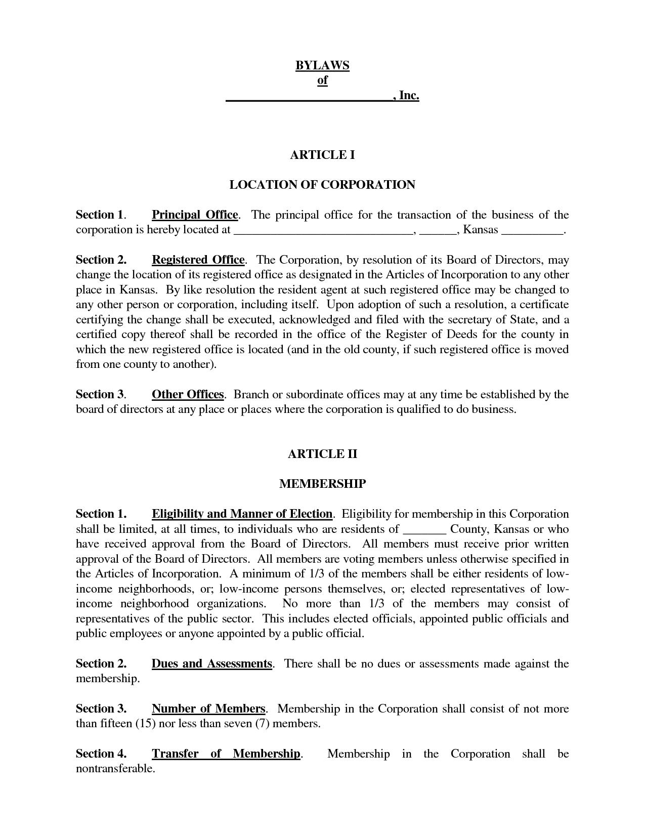 Doc623554 Bylaw Template Nonprofit Bylaws 76 Similar Docs – Bylaw Template