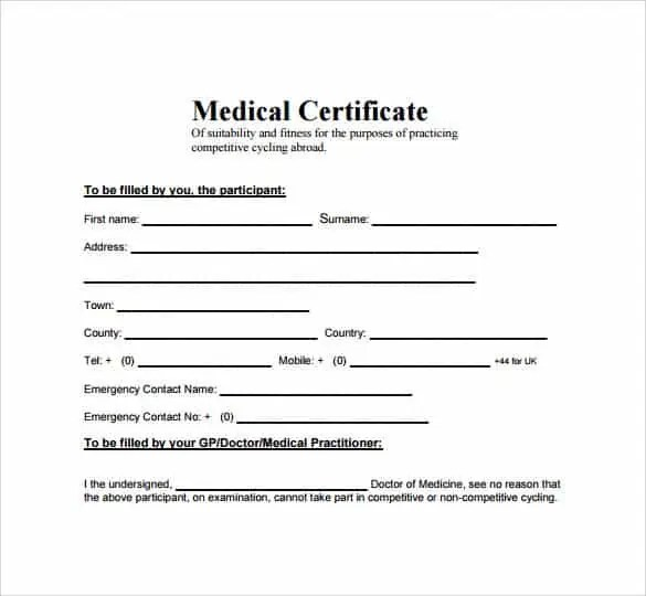 Medical Certificate Sample 7491