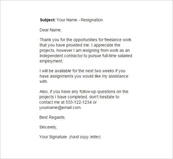 resignation letter outline