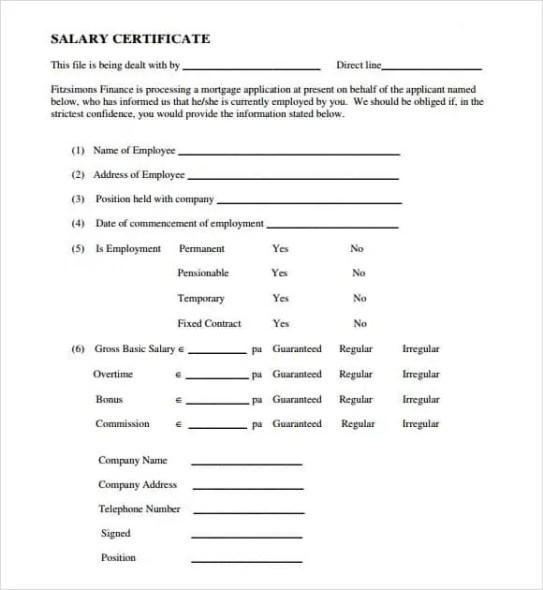 Salary Certificate Formats 941