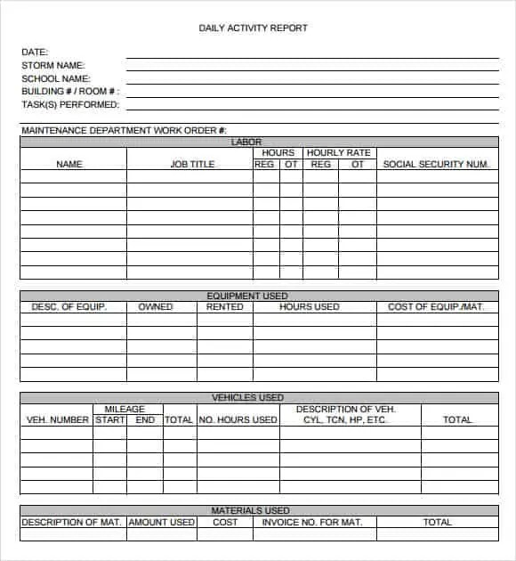 daily report template 541