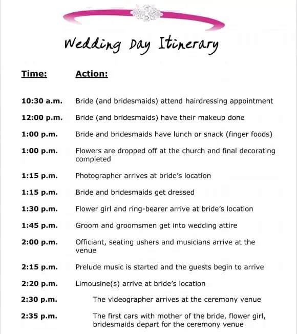 event itinerary template 2641