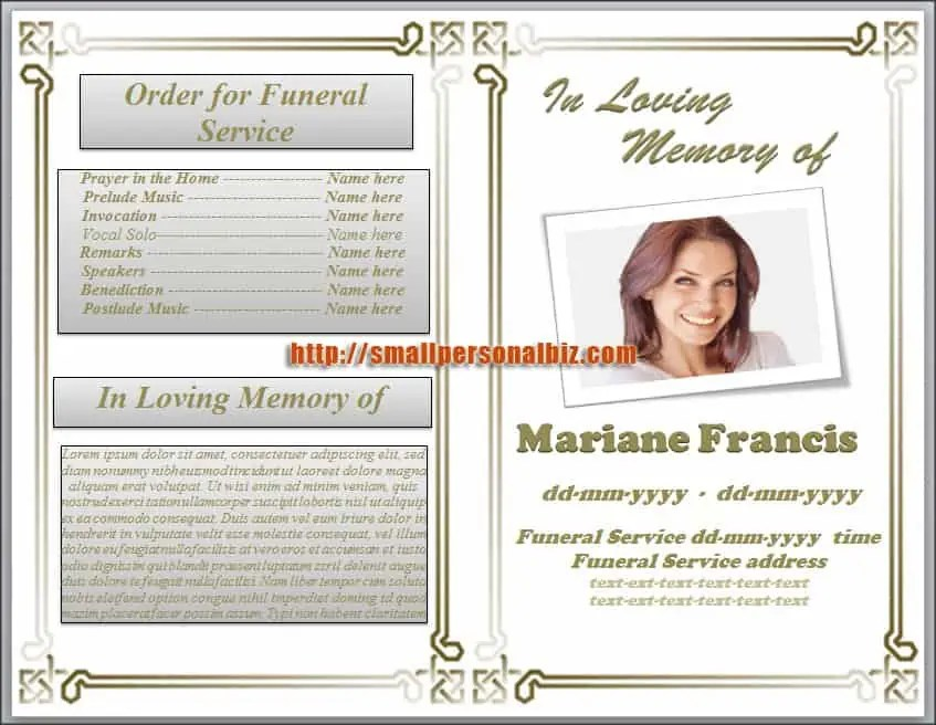 Funeral Program Template 10  Funeral Programs Samples