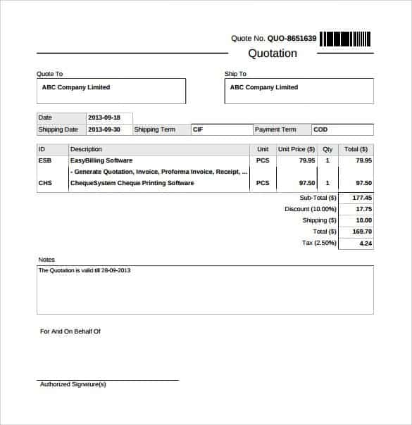Quotation Forms Templates  CityEsporaCo