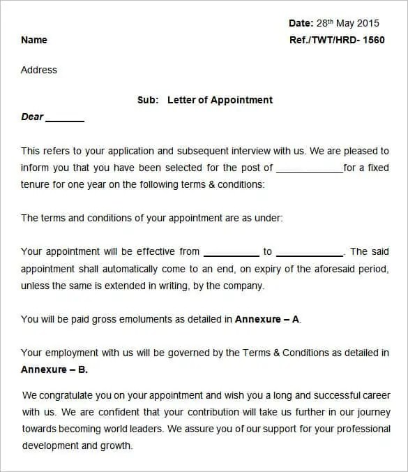 appointment letter template 81