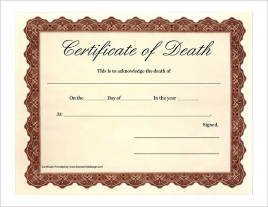 death certificaet template 3964